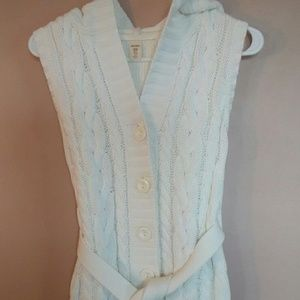 Old Navy XL Cream Cotton Cable Knit Hooded Vest